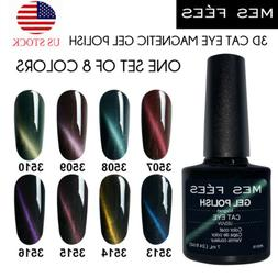 8 Colors Cat Eye Gel Polish Set UV Soak Off Magnetic Stick M
