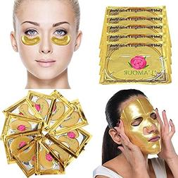 20 Pairs of Eye Masks + 5 Face Masks | 24K Gold Powder Cryst