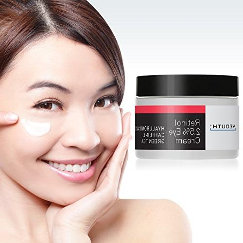Retinol Eye Cream from Hyaluronic Caffeine, Tea, Aging, Skin Tone, and Hydrate