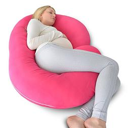 PharMeDoc Pregnancy Pillow with Pink Jersey Cover, C Shaped